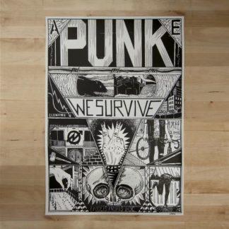 doc, we survive, punk, poster, screenprint, ultimo mono, barcelona, bike, bici