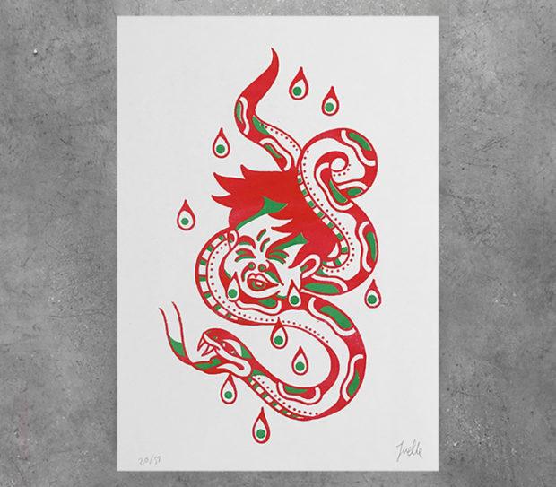 javi juelle riso tattoo serpiente niño llorar rojo verde
