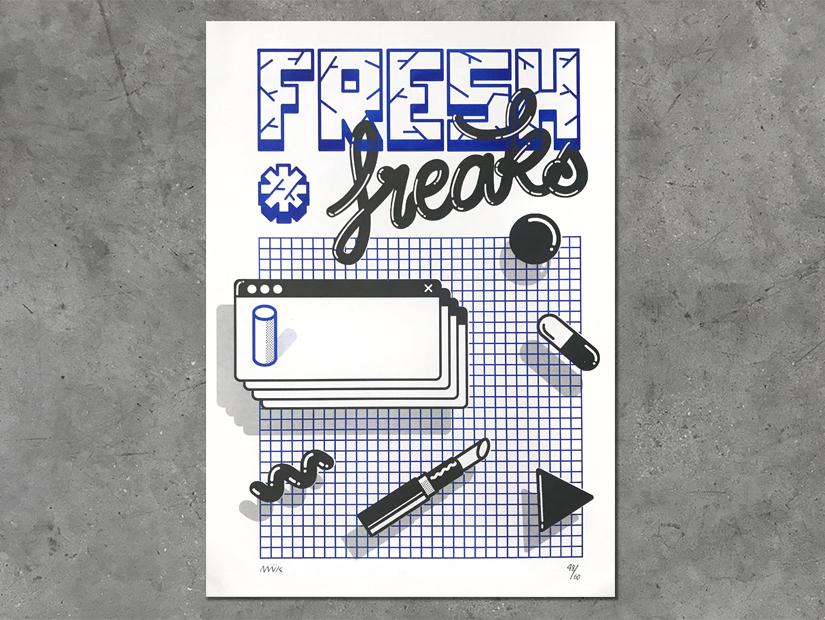 maik, fresh freak, tipografia, type, font, vapor, riso, print, obra grafica