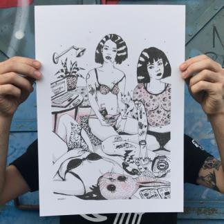 ana mushell, ultimomono, granada, ilustración, art, google, gato. guapa, print, risografia