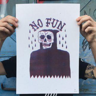 no fun, jess garcia, ultimo mono, colaboracion, riso, print, risografia, stooges, muerte, punk