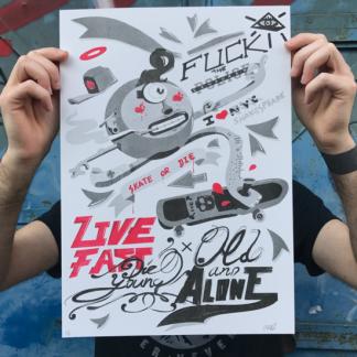 oye, fuck cops. live fast, graffiti, skate, riso, ultimomono, ultimo mono, sevilla