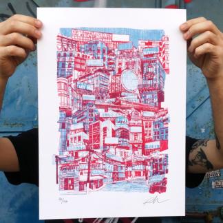 la city, pedro delgado, riso, print, sevilla, risografia