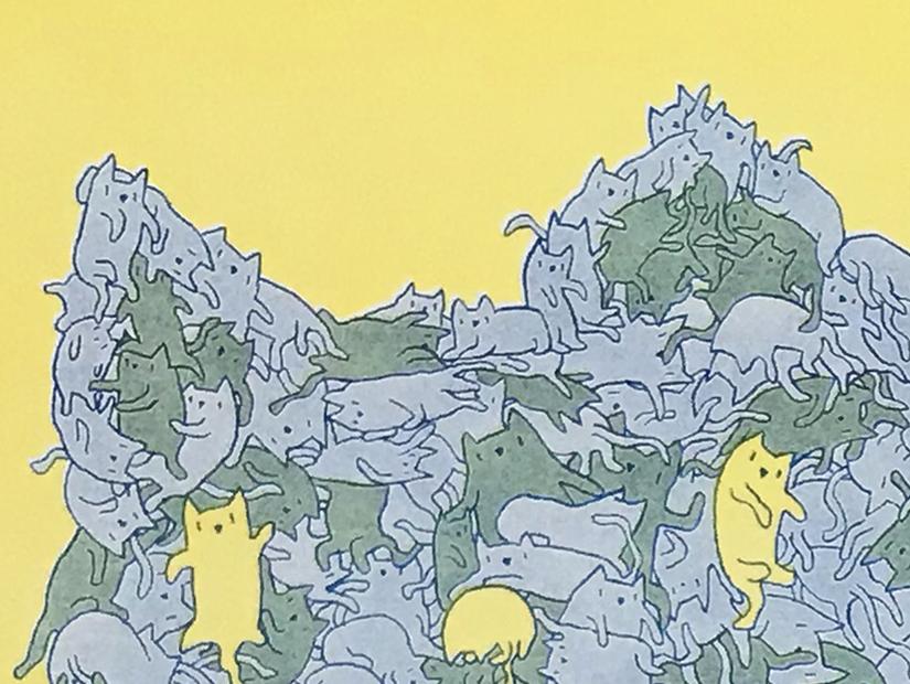 gatotron cristian pineda gato gatete cat riso poster risograph obra grafica