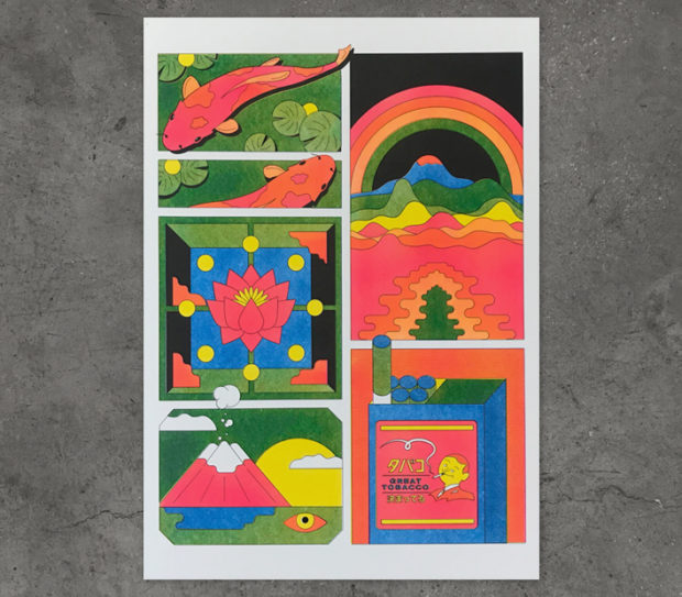 backtooth, riso, print, haiku