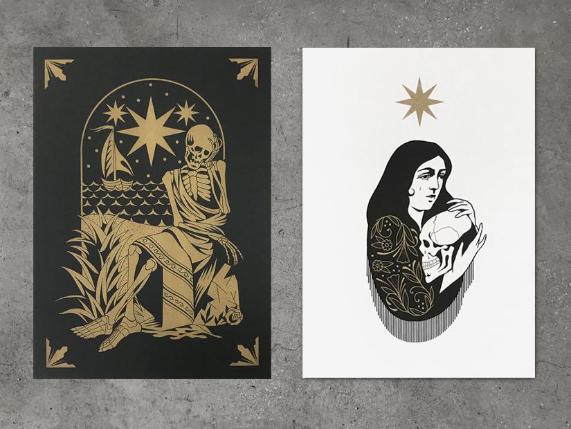 jlr, tatuaje, diseño tatto, oro, negro, print, riso, risoprint, lucero