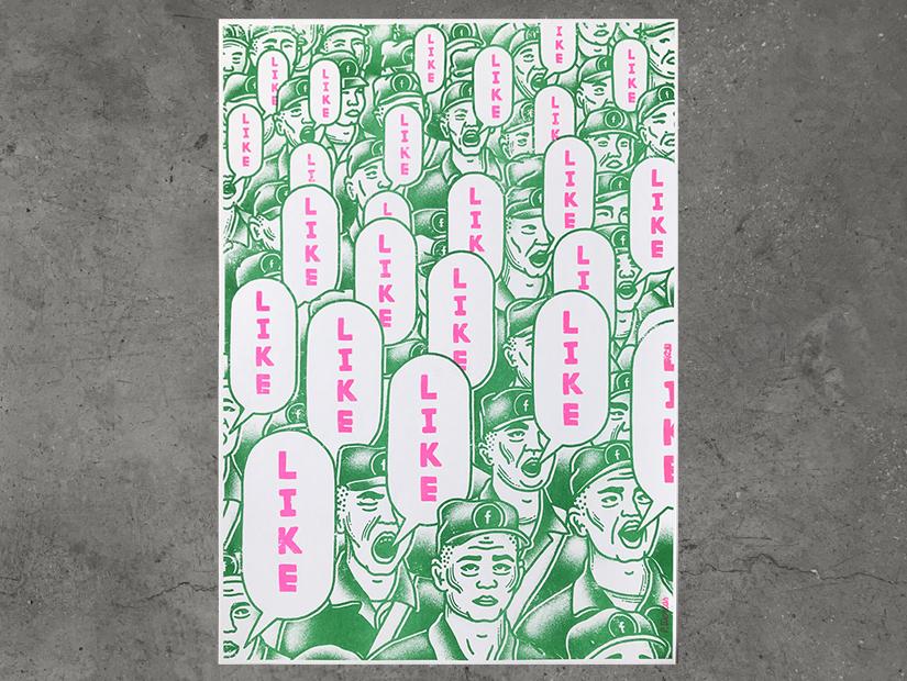 paco tuercas, likes, estampa, risografia, riso, risoprint, print, china, facebook